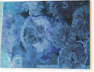 Blue Muted Memories Wood Print by Anne-Elizabeth Whiteway