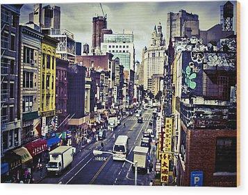 Blue New York City Wood Print by Brian Lambert