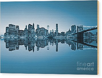 Wood Print featuring the photograph Blue New York City by Luciano Mortula