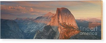 Blue Orange Sunset Half Dome Yosemite Panoramic  Wood Print by Nature Scapes Fine Art