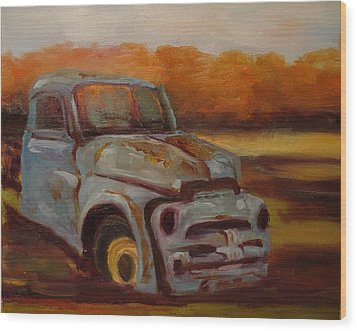 Wood Print featuring the painting Blue Pickup by Carol Berning