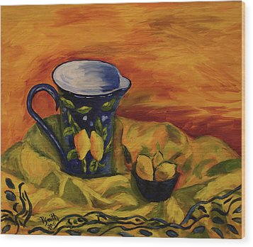 Blue Pitcher With Lemons Wood Print by Phyllis  Smith