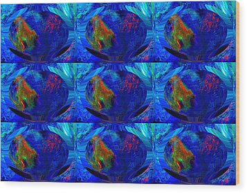 Blue Planet - Tiled Wood Print by Colleen Cannon