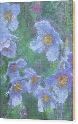 Wood Print featuring the painting Blue Poppies by Richard James Digance