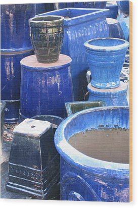 Wood Print featuring the photograph Blue Pots by Brian Sereda