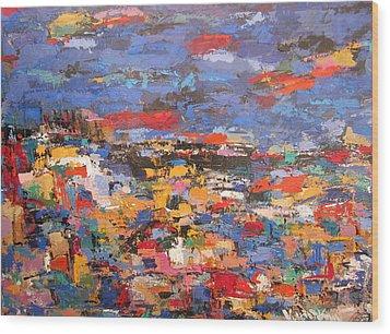 Blue Riviera Wood Print
