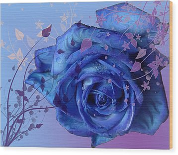 Blue Rose Wood Print by Barbara Giordano