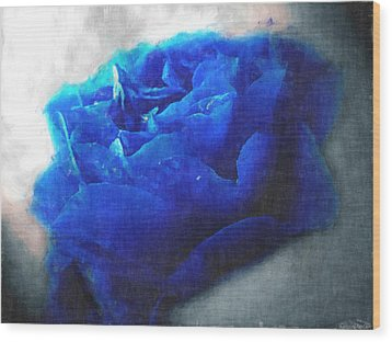 Wood Print featuring the digital art Blue Rose by Debbie Portwood