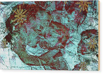 Blue Rose Madonna Abstract Wood Print by Mindy Newman