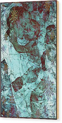 Blue Rose Madonna And Child Wood Print by Mindy Newman