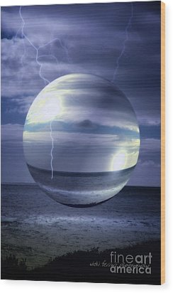 Wood Print featuring the photograph Blue Sea Hover Bubble by Vicki Ferrari