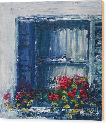 Blue Shutters Wood Print by Yvonne Ayoub