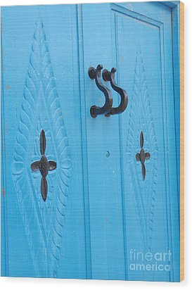 Blue Sidi Bou Said Tunisia Door Wood Print