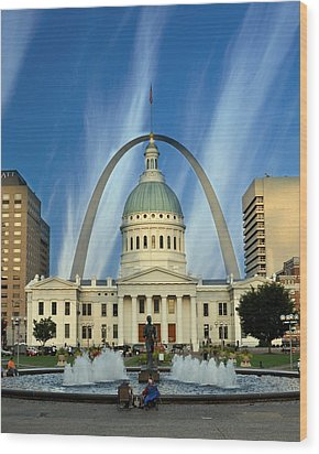 Blue Skies Over St. Louis Wood Print by Marty Koch