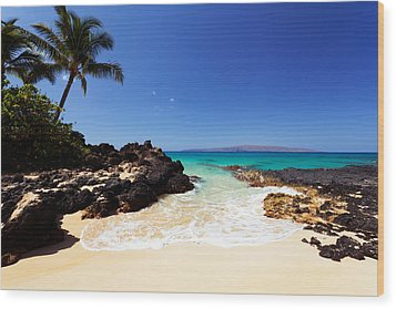 Blue Sky At Secret Beach Makena Wood Print