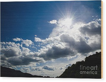 Blue Sky With Clouds Wood Print by Mats Silvan