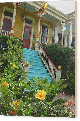 Wood Print featuring the photograph Blue Stairs Yellow House by Jeanne  Woods