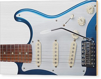 Wood Print featuring the photograph Blue Strat by Kim Wilson