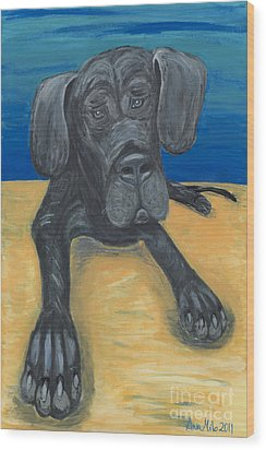 Blue The Great Dane Pup Wood Print
