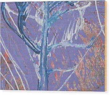 Blue Tree Wood Print by Anne-Elizabeth Whiteway