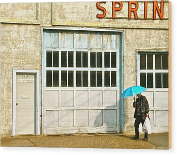 Wood Print featuring the photograph Blue Umbrella by Brian Sereda