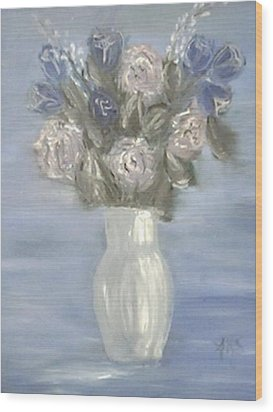 Wood Print featuring the painting Blue Vase by Angela Stout