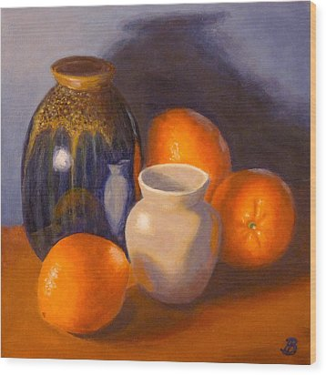 Wood Print featuring the painting Blue Vase by Joe Bergholm