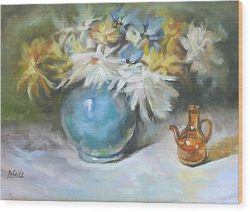 Blue Vase Wood Print by Patricia Seitz