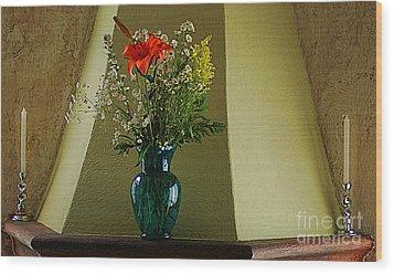 Wood Print featuring the digital art Blue Vase With Orange Flower by John  Kolenberg