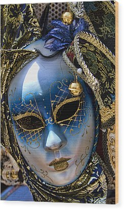 Blue Venetian Mask Wood Print by David Smith