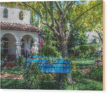 Blue Wagon Wood Print by Cindy Nunn
