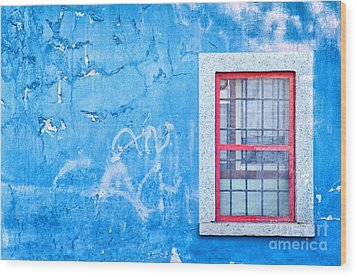Blue Wall And Window With Red Frame Wood Print by Silvia Ganora