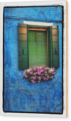 Blue Wall Wood Print by Mauro Celotti