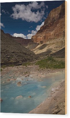 Blue Water, Travertine, Little Colorado Wood Print by Ralph Lee Hopkins