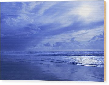 Blue Waterscape Wood Print by Christine Mariner