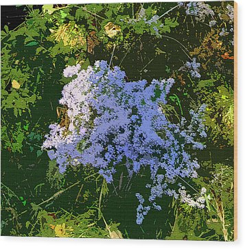 Blue Wild Flowers Wood Print by Mindy Newman