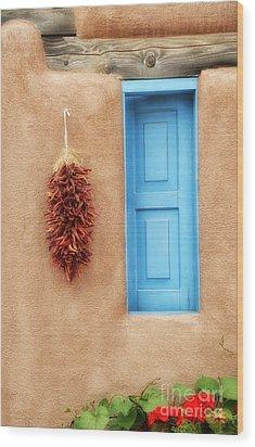 Blue Window Chillies Wood Print