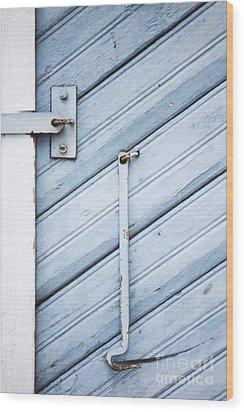 Wood Print featuring the photograph Blue Wooden Wall With Metal Hook by Agnieszka Kubica