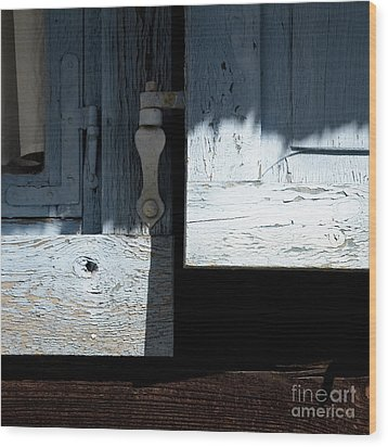 Wood Print featuring the photograph Blue Wooden Window Shutters by Agnieszka Kubica