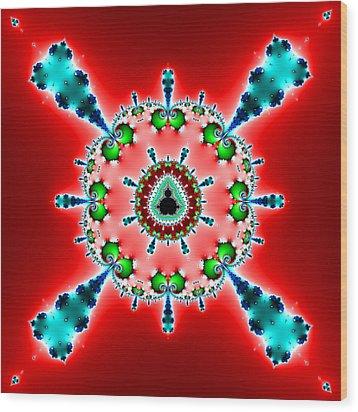 Blue X On Red Wood Print by Mark Eggleston