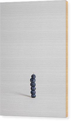 Blueberries Arranged Into A Stack, Studio Shot Wood Print by Halfdark