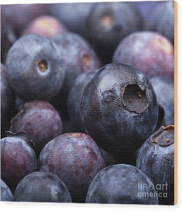 Blueberry Background Wood Print by Jane Rix