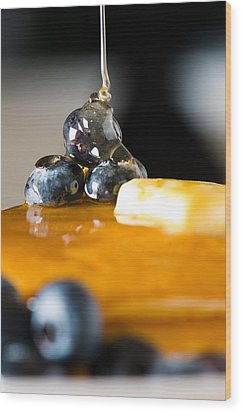 Blueberry Butter Pancake With Honey Maple Sirup Flowing Down Wood Print by Ulrich Schade