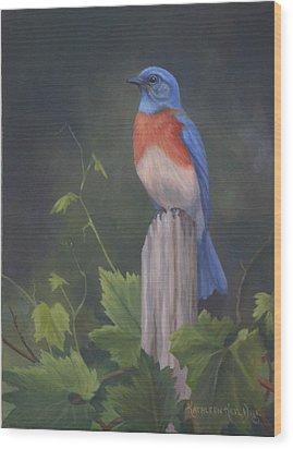 Bluebird Wood Print by Kathleen  Hill