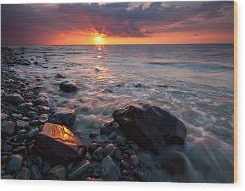 Bluffs Beach Sunset 1 Wood Print by Darren Creighton