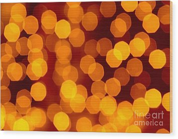 Blurred Christmas Lights Wood Print by Carlos Caetano
