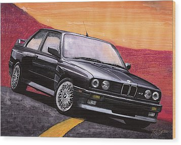 Wood Print featuring the painting Bmw E30 M3 by Rod Seel