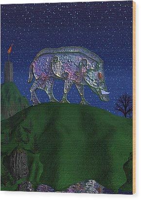 Boar King Wood Print by Diana Morningstar