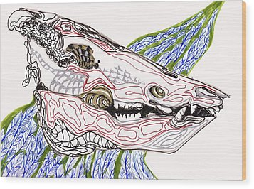 Boar Skull Ink Wood Print