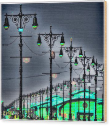 Wood Print featuring the photograph Boardwalk Lights by Chris Lord
